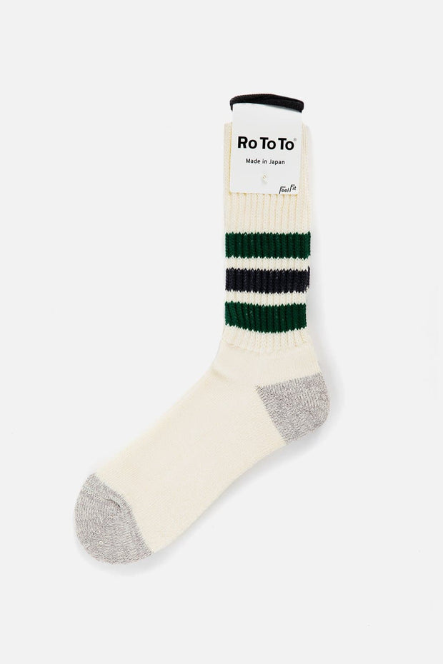 RoToTo Coarse Ribbed Old School Socks Green Charcoal