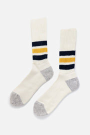 RoToTo Coarse Ribbed Old School Socks Navy Yellow