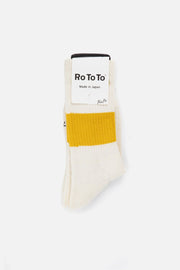 RoToTo Silk Cotton Classic Crew Socks Dark Yellow