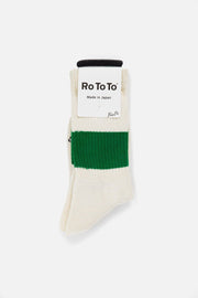 RoToTo Silk Cotton Classic Crew Socks Green