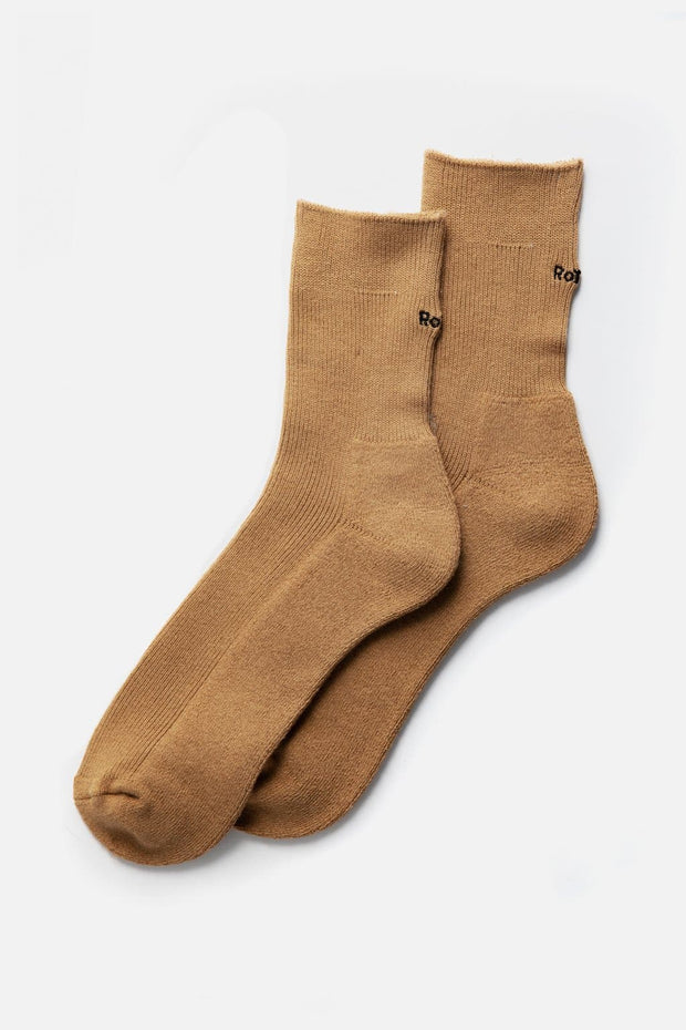 "RoToTo Rib Pile Mid Socks ""Cool Max"" Light Brown"