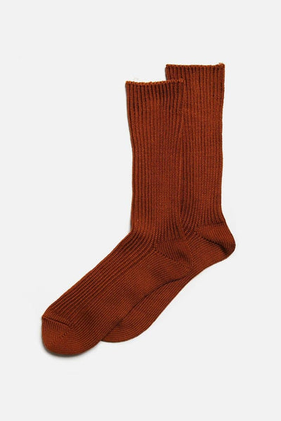 RoToTo Silky Touch Loose Rib Socks Brown