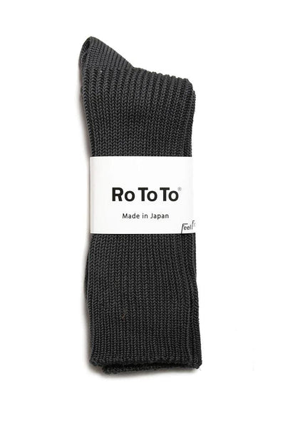 RoToTo Silky Touch Loose Rib Socks Charcoal