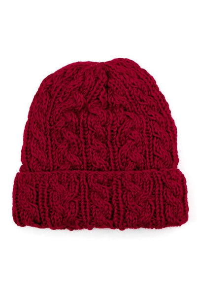 Cable Knit Watch Cap Crimson