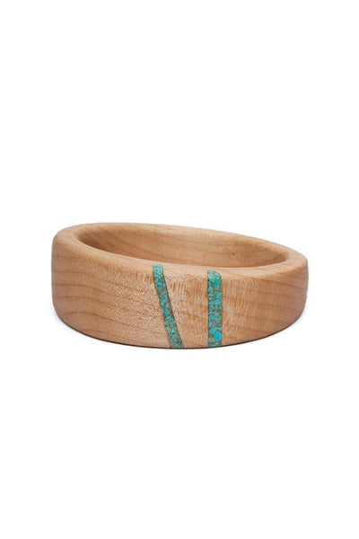 Oregon Curly Maple Wood Turquoise Bangle