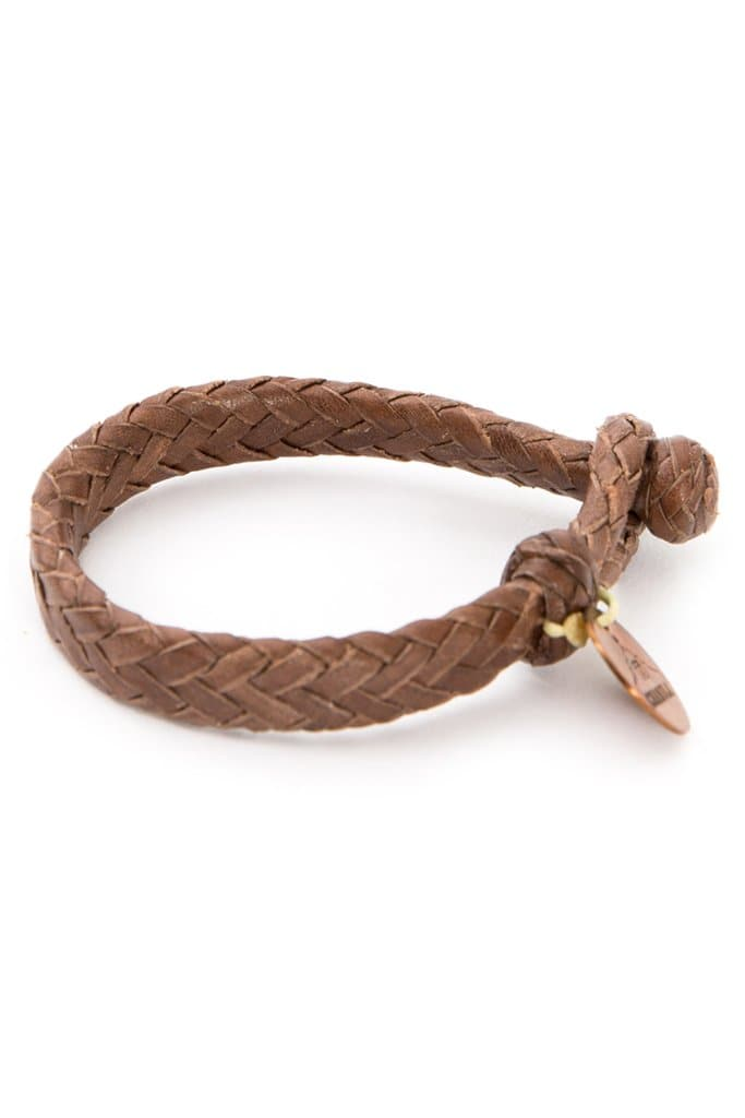 Chamula Flat Woven Leather Bracelet Dark Brown