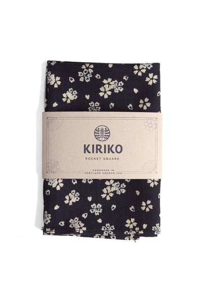 Kiriko Navy Sakura Pocket Square