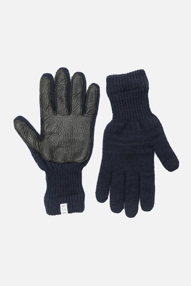 Men's Ragg Wool Gloves Navy with Black Leather