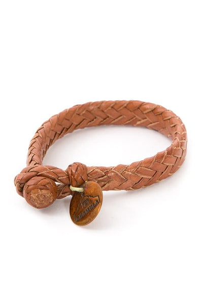 Chamula Flat Woven Leather Bracelet Chestnut