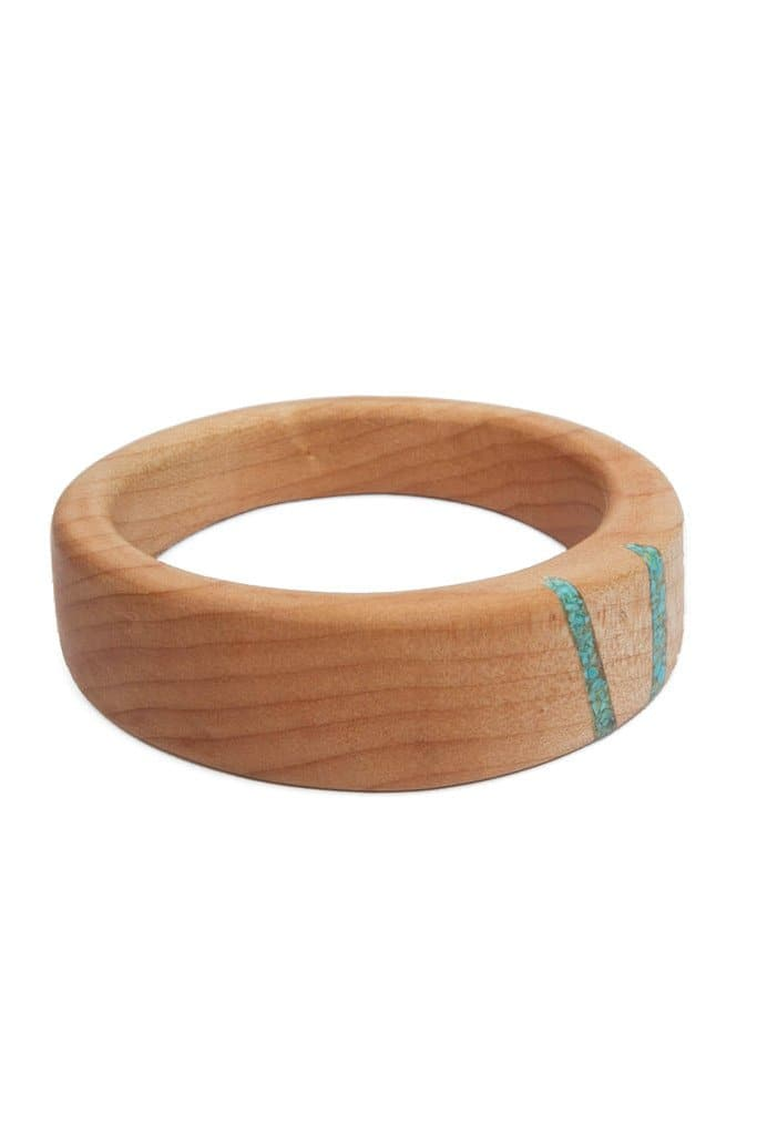 Oregon Maple Two Stripe Turquoise Bangle