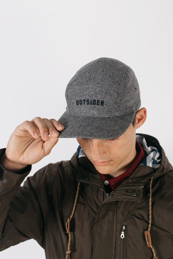 Outsider Five Panel Cap Charcoal Wool