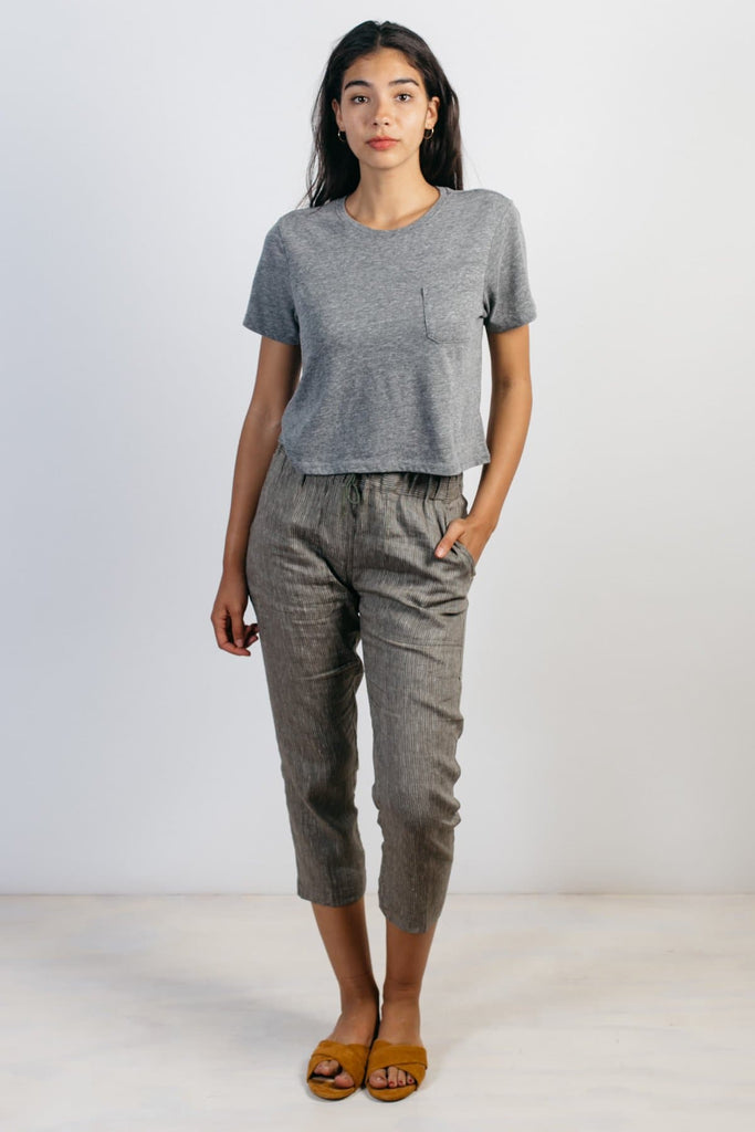 Richer Poorer Boxy Crop Pocket Tee Heather Grey