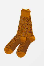 RoToTo Rain Drop Socks Dark Yellow Brown