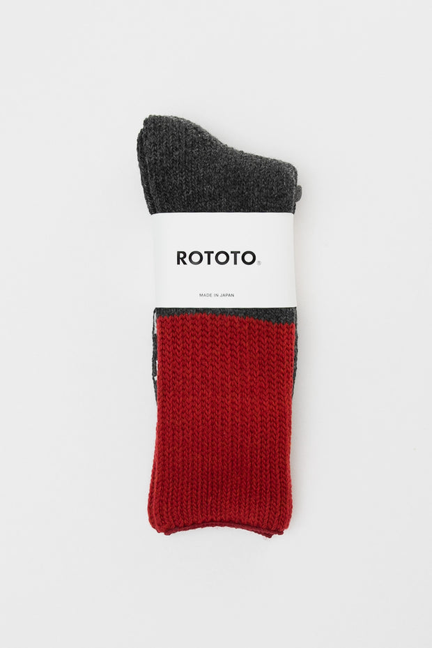 RoToTo Teasel Socks Red Charcoal