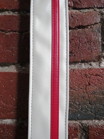 Colonial Leather Stripe Rag Guitar Strap - White/Red Stripe - Guitar Emporium