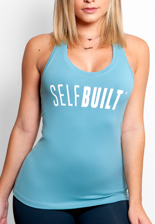 Racerback Fitted Tank - White/Blue - selfbuiltapparel.co