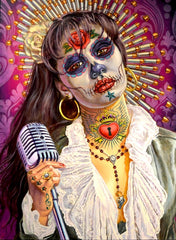 Amor Prohibido - Day of the Dead inspired portrait of Selena Quintanilla-Perez