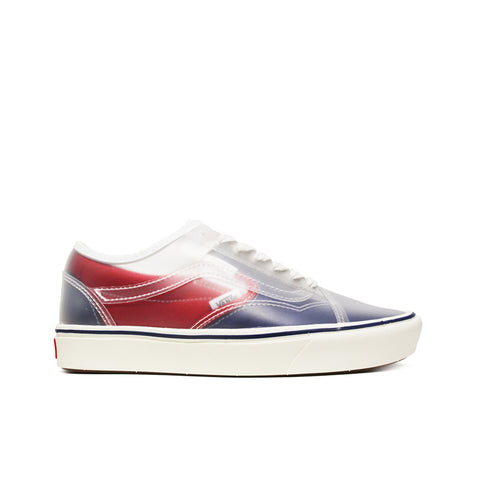 VANS <BR> COMFYCUSH SLIP-SKOOL (TRUE NAVY / RED)