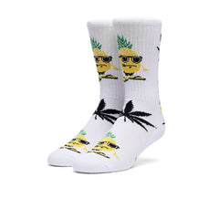 "KICKS/HI X HUF <BR> ""PINEAPPLE BUD PLANTLIFE"" SOCK (WHITE)"