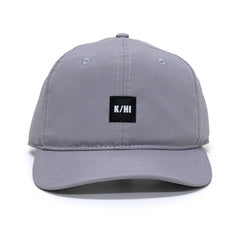 KICKS/HI <BR> 'K/HI' BOX LOGO UNSTRUCTURED 6-PANEL CAP (STEEL GREY MICRO RIPSTOP)