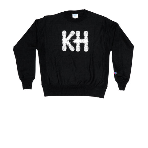 KICKS/HI <BR> CHAMPION 'KH PINEAPPLES' REVERSE WEAVE L/S CREWNECK (BLACK)