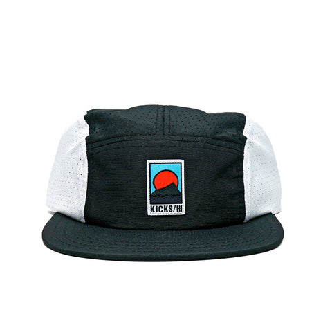 KICKS/H<BR>FA'20 'SPORTS & REC' UNSTRUCTURED 5-PANEL MICRO RIPSTOP RUN CAP (BLACK/WHITE)