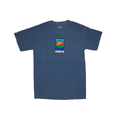 KICKS/H<BR>FA'20 'SPORTS & REC' GARMENT DYED T-SHIRT (DENIM BLUE)