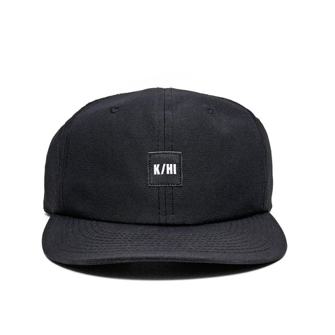 "KICKS/HI <BR> ""K/HI BOX"" LOGO UNSTRUCTURED 6-PANEL CAP (BLACK MICRO RIPSTOP)"