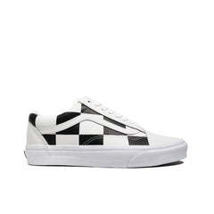 VANS <BR> OLD SKOOL 'LEATHER CHECK' (TRUE WHITE / BLACK)