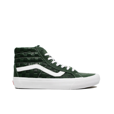 VANS VAULT <br> SK8-HI REISSUE LX 'EMBOSSED CHECKERBOARD / LEATHER' (GREEN)
