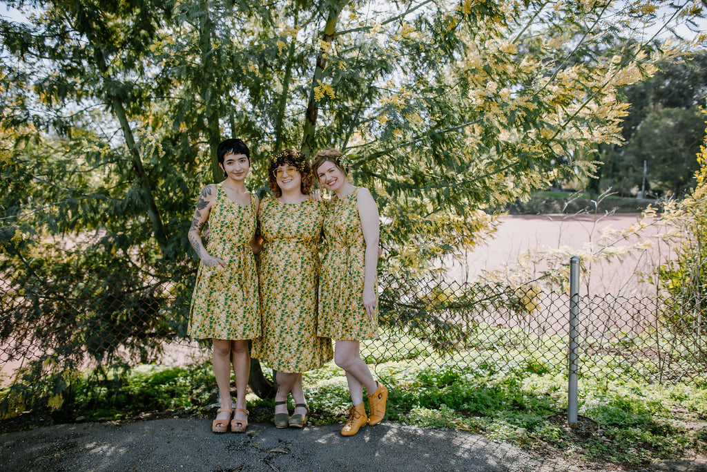 wood sorrel print phoebe wahl yellow dress