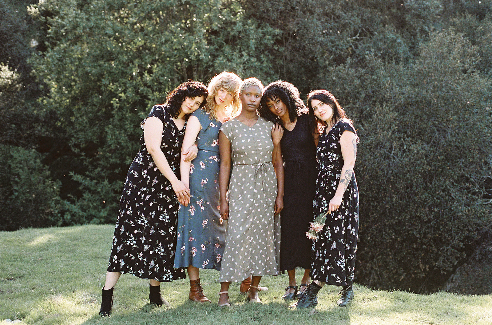 group of women in field day bias dresses