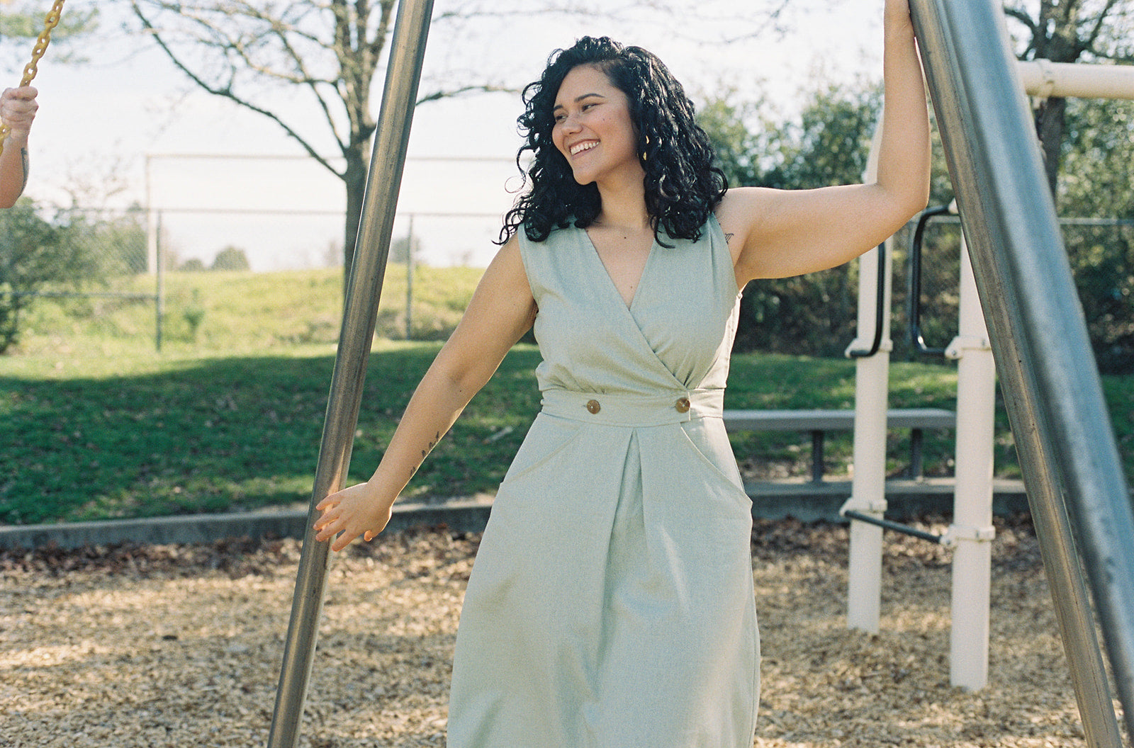 plus size model wearing a dress with pockets