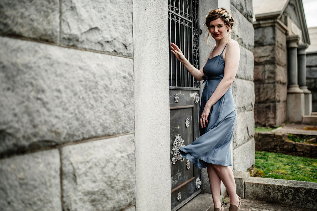 blue dress in piedmont cemetery