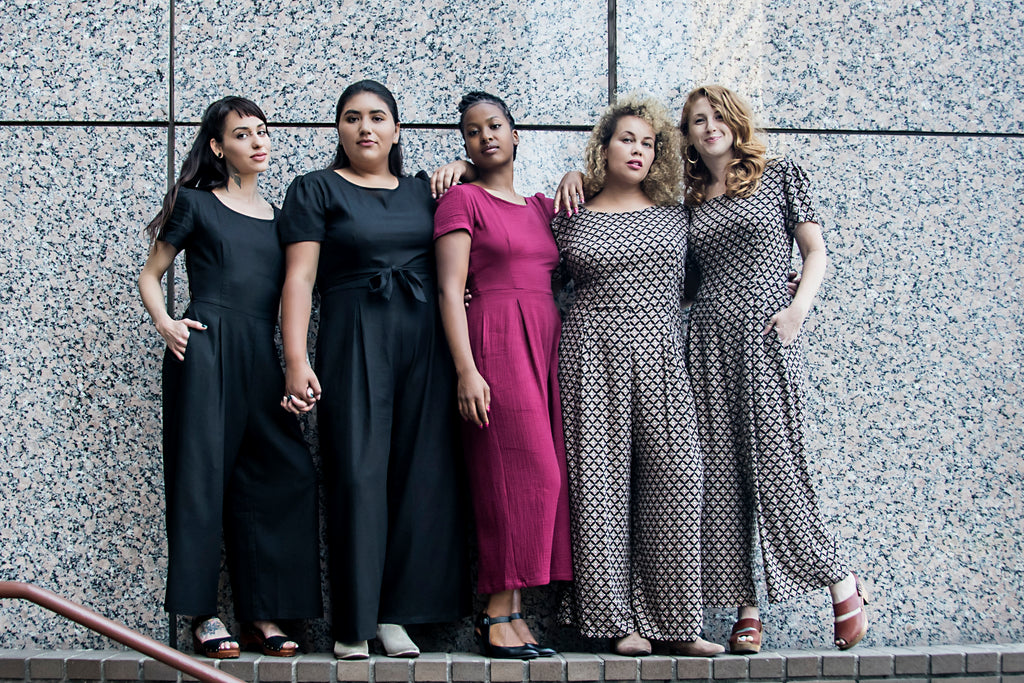 group of women wearing high waisted jumpsuits