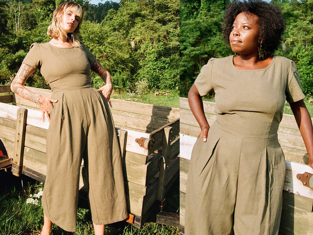 olive green verga jumpsuits on 2 different women