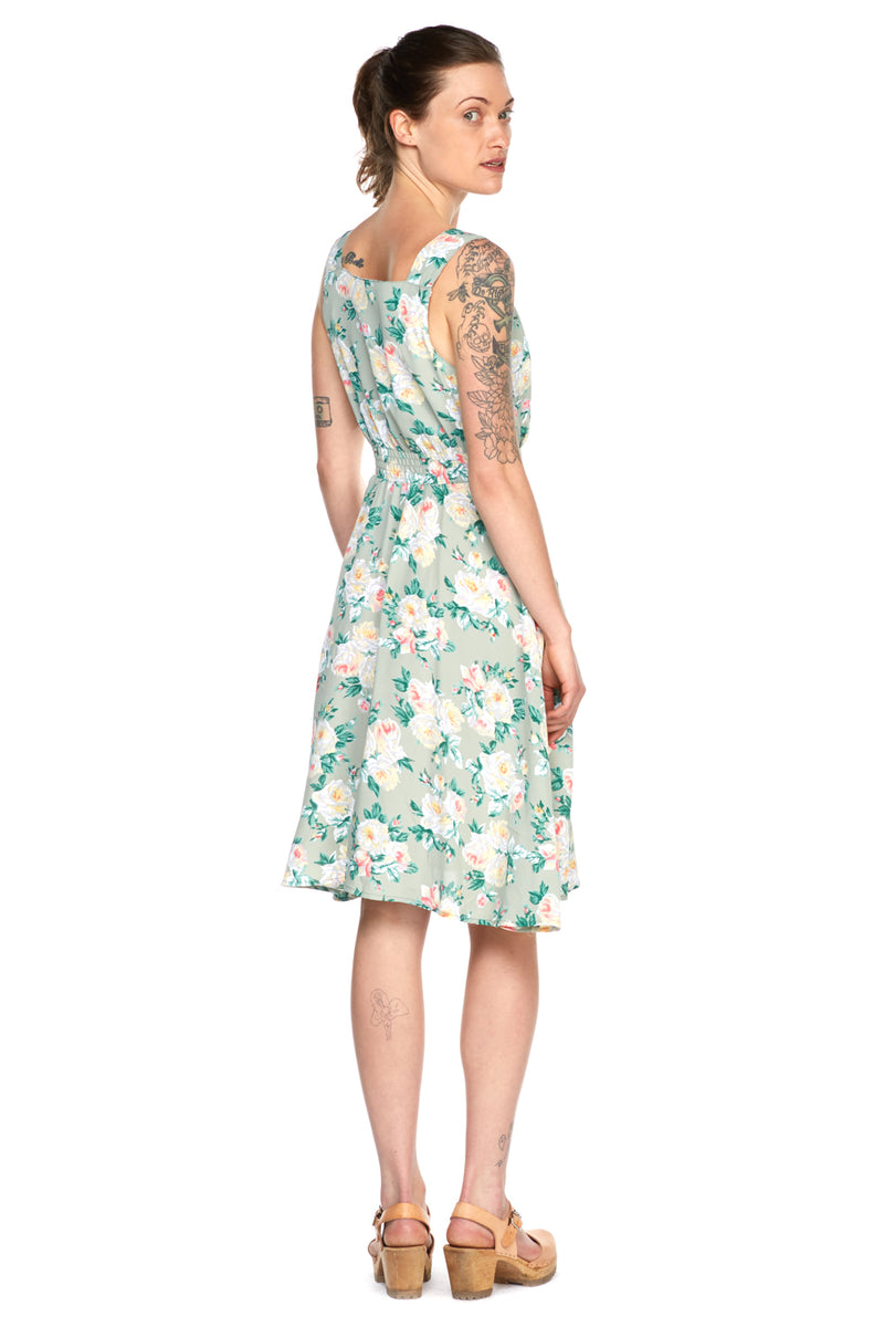 Sheet Dress in Sage Floral