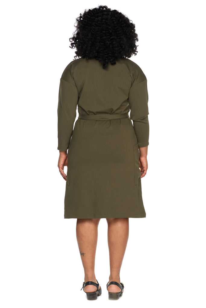 Adeline Sweater Dress in Olive Field Day