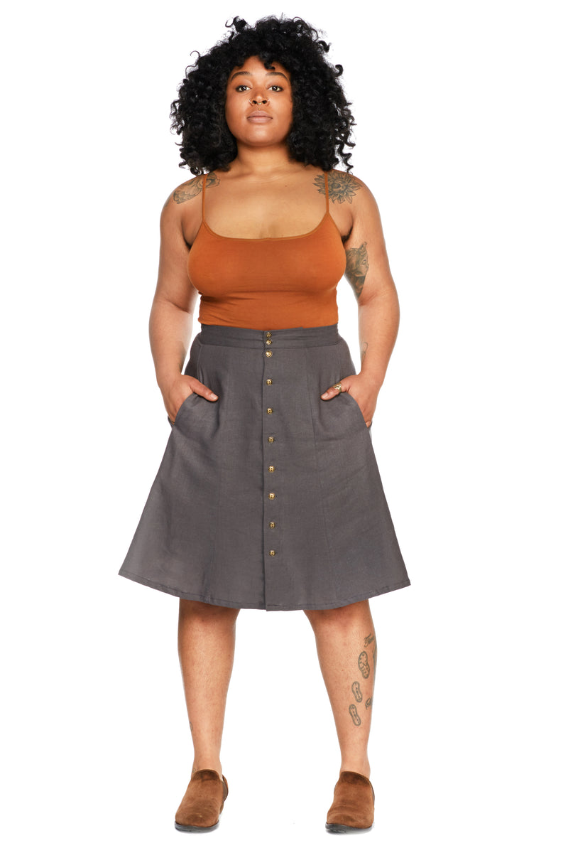 Bae Skirt in Charcoal Linen