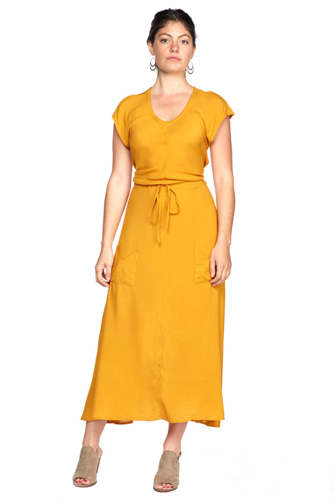 Belted Bias Dress in Mustard Challis