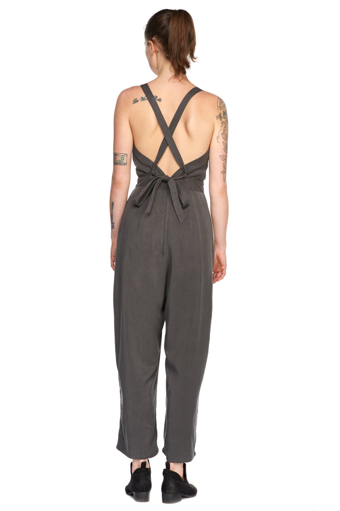 Yolked Juniper Jumpsuit in Olive Tencel