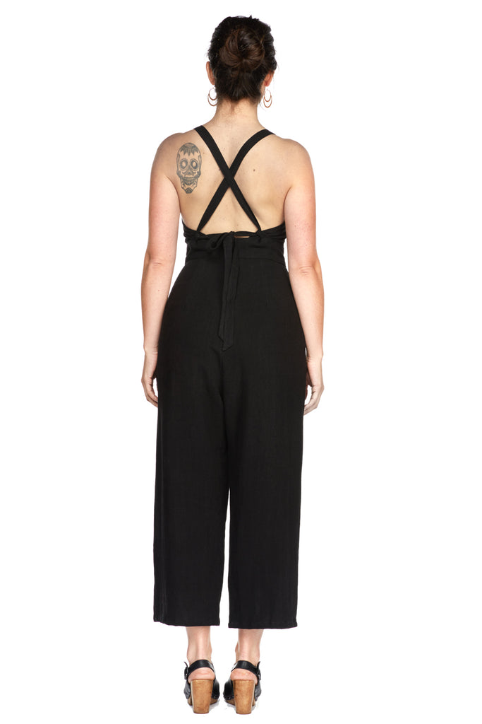 Yolked Juniper Jumpsuit in Black Linen