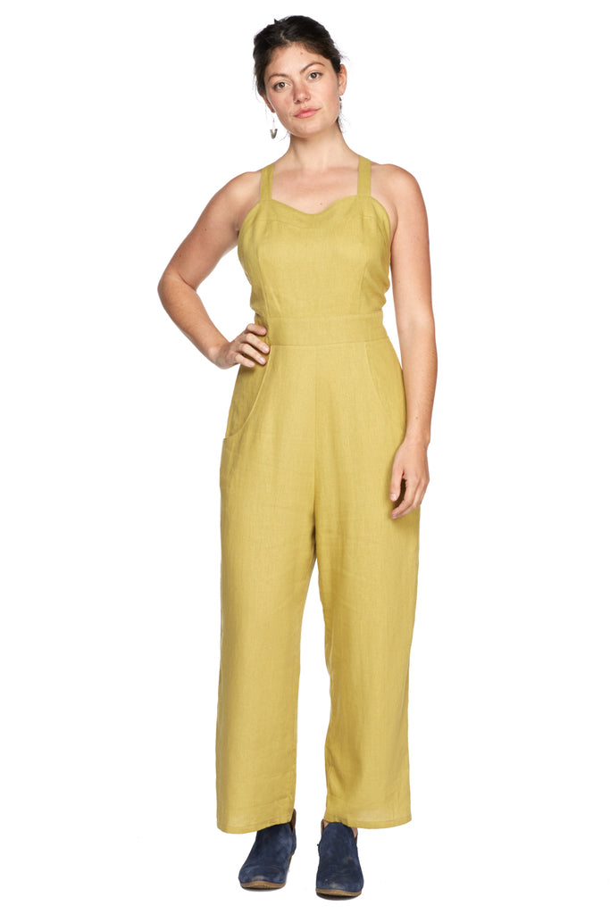 Yolked Juniper Jumpsuit in Marigold Linen