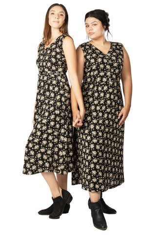 Cross-Over dress in Dark Bloom