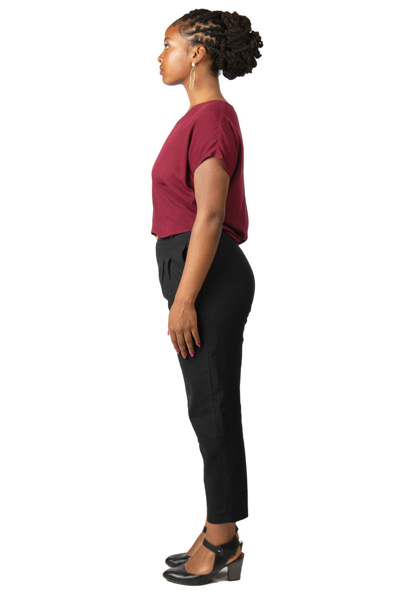 Dolman Top in Wine Berry Crepe