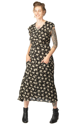 Diana Dress in Black Floral Velvet