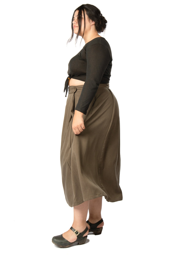 Rue Skirt in Olive Tencel