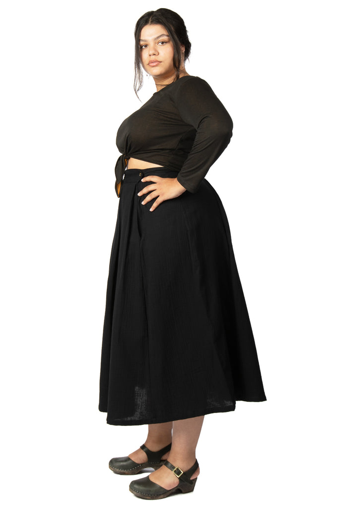 Rue Skirt in Black Double Gauze