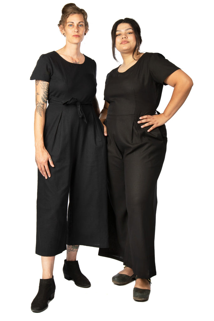 Vega Jumpsuit in Black Linen