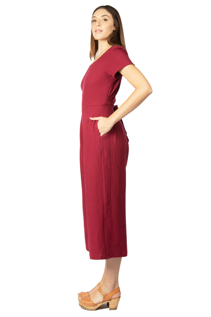 Vega Jumpsuit in Crimson Double Gauze